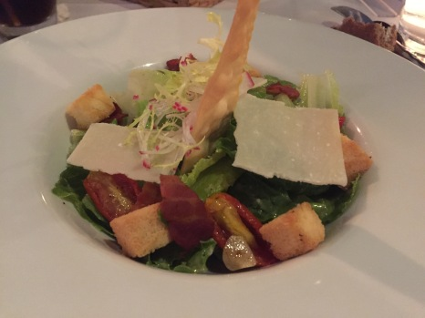Caesar salad with bacon and parmesan cheese