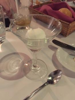 Lemon sorbet served as palate cleanser aka free dessert