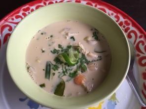 Coconut mik soup with chicken @ Thai Farm Cooking School
