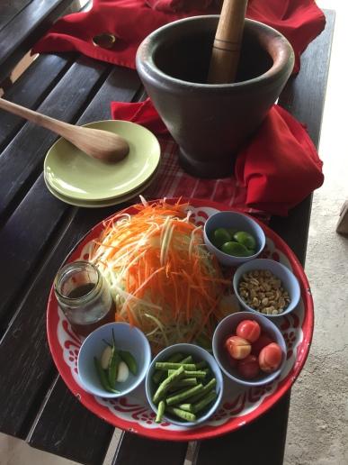 Papaya salad prep @ Thai Farm Cooking School