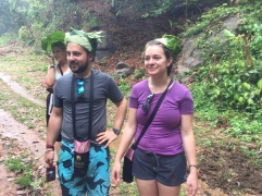 Leaf umbrella and hats. Getting crafty in the jungle!