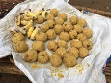 Sticky rice ball treats for the elephants