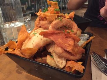 Fish & Chips with calamari @ Fishmongers Byron Bay